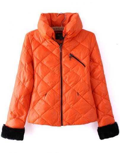 Orange High Neck Long Sleeve Diaper Crop Down Coat