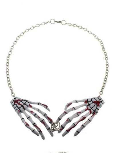 White Bloodstain Skeleton Hand Chain Necklace