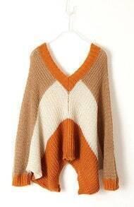 Khaki White Orange Striped Long Sleeve Batwing Sweater