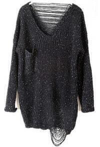 Black Long Sleeve Ripped Tassel Pocket Sweater