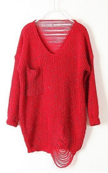 Red Long Sleeve Ripped Tassel Pocket Sweater