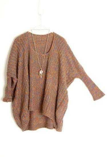 Dark Brown Batwing Long Sleeve Loose Pullovers Sweater