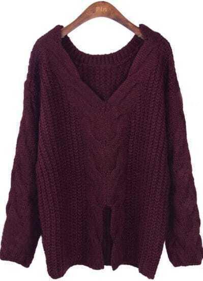 Wine Red V Neck Long Sleeve Split Loose Sweater