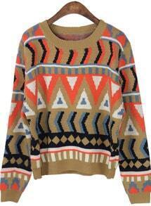 Khaki Long Sleeve Geometric Pullovers Sweater