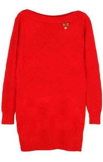Red Boat Neck Long Sleeve Bow Embellished Sweater