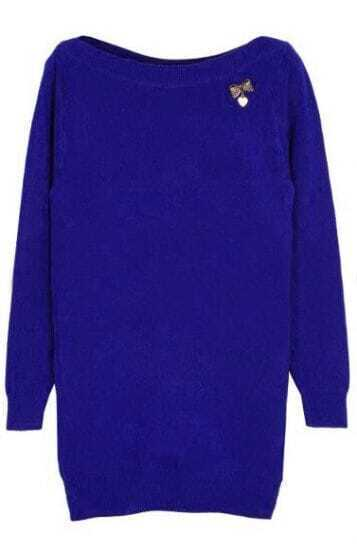 Blue Boat Neck Long Sleeve Bow Embellished Sweater
