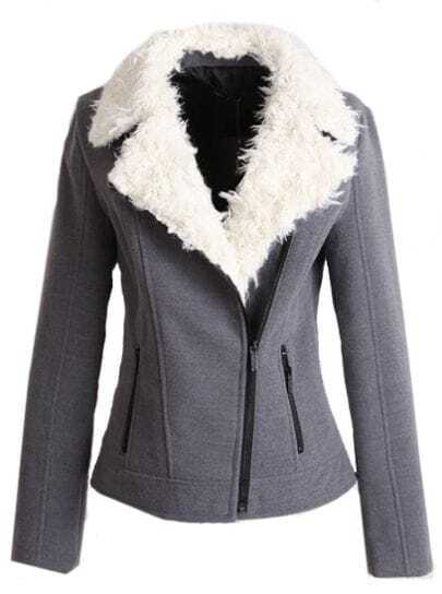 Grey Fleece Lapel Long Sleeve Zipper Pockets Jacket