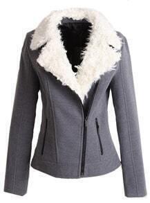 Grey Fleece Lapel Long Sleeve Zipper Pockets Jacket