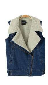 Blue Fur Lapel Sleeveless Zipper Denim Vest Coat