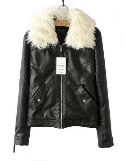 Black Fur Lapel Long Sleeve Zipper PU Leather Qulited Jacket