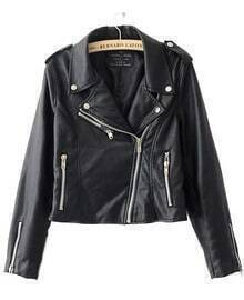 Black Zipper Embellished Cuffs PU Leather Biker Jacket
