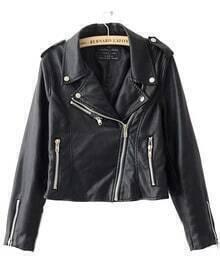 Black Zipper Embellished Cuffs PU Leather Biker Jacket