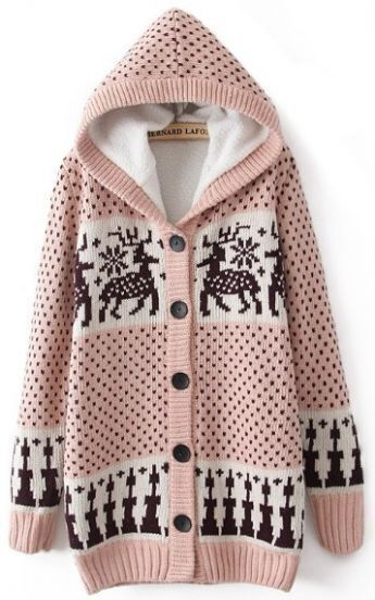 Pink Hooded Long Sleeve Deer Pattern Cardigan Sweater