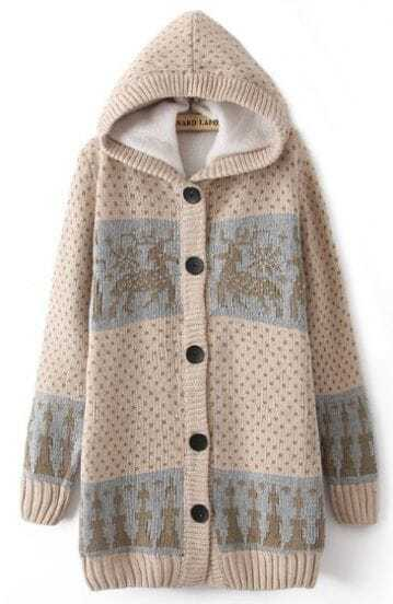 Beige Hooded Long Sleeve Deer Pattern Cardigan Sweater