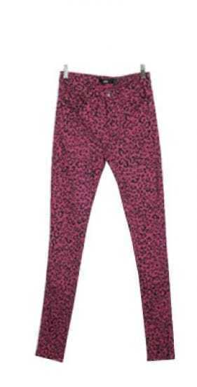 Purple Leopard Low Waist Skinny Leggings
