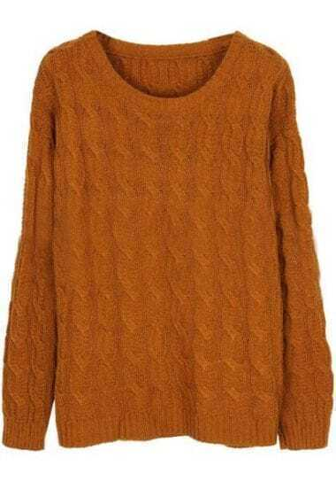 Brown Long Sleeve Elbow Contrast Chammy Sweater