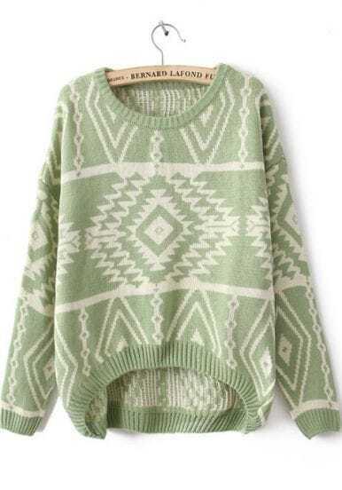 Green Long Sleeve Geometric Pullovers Sweater