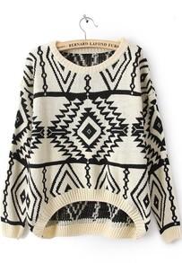 Beige Long Sleeve Geometric Pullovers Sweater