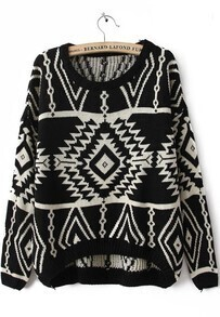 Black Long Sleeve Geometric Pullovers Sweater