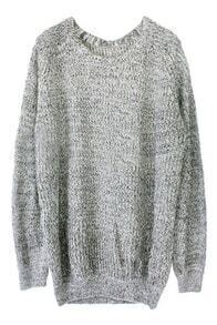 Grey Batwing Long Sleeve Elbow Patch Loose Sweater