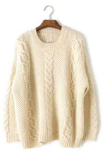Apricot Long Sleeve Embroidery Loose Pullovers Sweater
