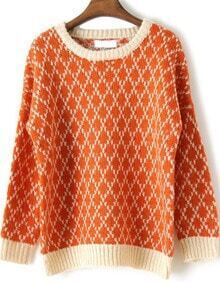 Orange Long Sleeve Diaper Houndstooth Sweater