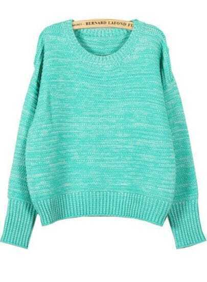 Green Round Neck Long Sleeve Striped Loose Sweater