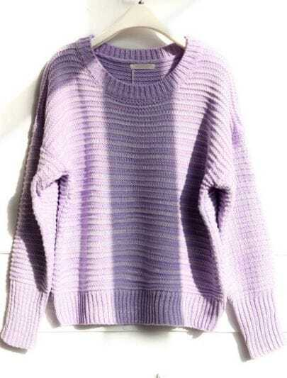 Purple Round Neck Long Sleeve Striped Loose Sweater