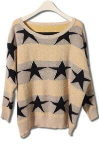 Yellow Long Sleeve Stars Embroidery Loose Sweater