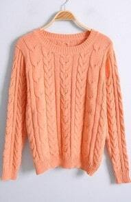 Orange Long Sleeve Hollow Vertical Stripe Sweater