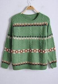 Green Long Sleeve Tribal Print Pullovers Sweater