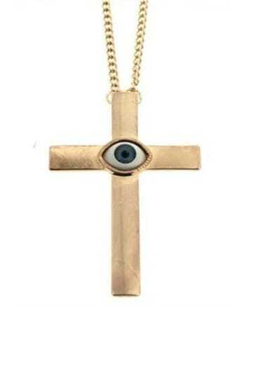 Gold Cross Eye Necklace