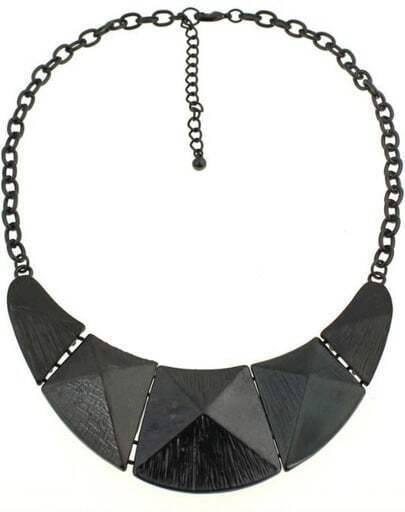 Black Cone Splice Chain Necklace