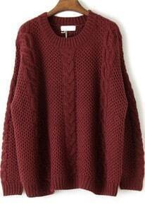 Red Long Sleeve Embroidery Loose Pullovers Sweater