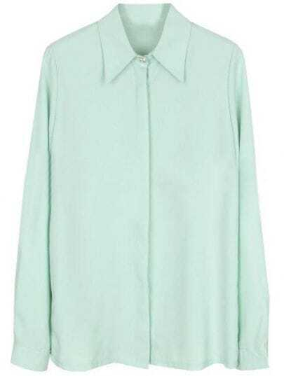 Green Lapel Long Sleeve Rhinestone Buttons Blouse