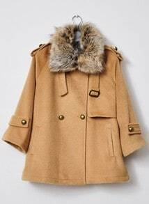 Camel Fur Lapel Long Sleeve Pockets Coat