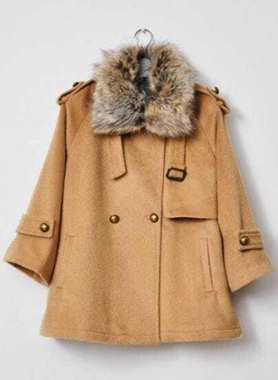 Camel Fur Lapel Long Sleeve Pockets Coat