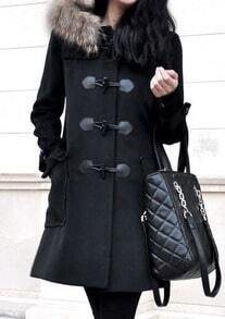 Black Fur Hooded Long Sleeve Duffle Coat