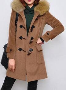 Camel Fur Hooded Long Sleeve Duffle Coat