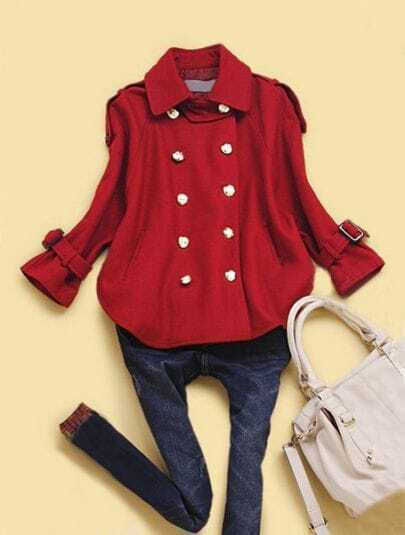 Wine Red Lapel Batwing Buttons Pleated Coat