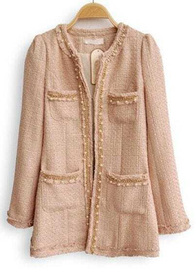 Pink Long Sleeve Pearls Chain Embellished Coat