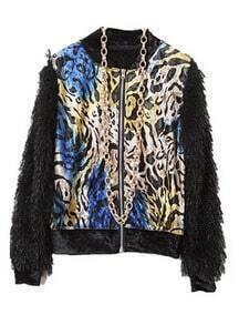 Multi Long Sleeve Tigrina Zipper Crop Jacket