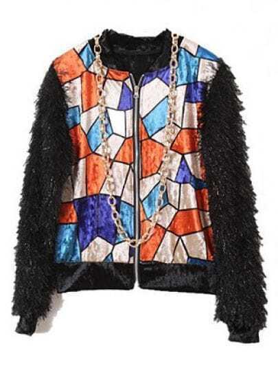 Orange Plaid Print Velvet Jacket Contrast Plush Sleeve