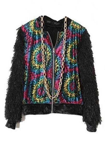 Multicolor Circle Print Velvet Jacket Contrast Plush Sleeve