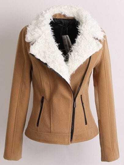 Khaki Fleece Lapel Long Sleeve Zipper Pockets Jacket