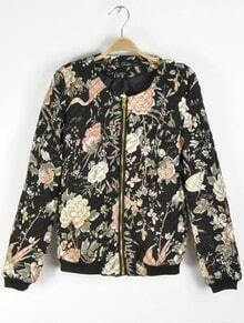 Black Long Sleeve Floral Zipper Jacket