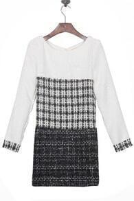 White Black Grey Long Sleeve Zip Back Shift Tweed Short Dress