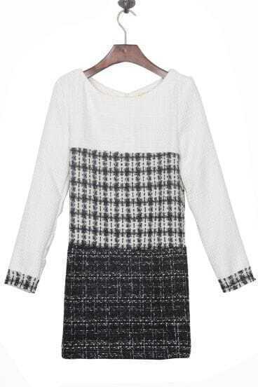White Black Grey Long Sleeve Zip Back Shift Tweed Short Dress