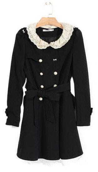 Black Lace Collar Flare Hem Belted Trench Coat