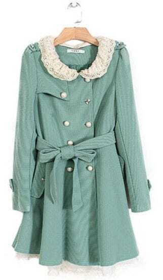 Green Lace Collar Flare Hem Belted Trench Coat